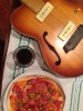 Home made 'pizza', italian red, and a gorgeous guitar, thanks heaps Gigi!
